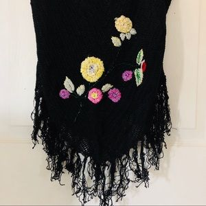 Cache Tops - Cache black embroidered fringe tank top